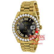 Mens Solid Steel Black Dial 18k Gold Simulated Diamonds Presidential Watch 42mm