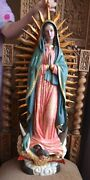 Hand Carved Wood Polychromed ''our Lady Of Guadalupe'' Santos Glass Eyes 28''