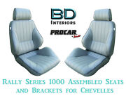 Rally 1000 Series Assembled Seats And Brackets 80-1000-52 For 1964 -1977 Chevelle