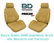 Rally 1000 Series Assembled Seats And Brackets 80-1000-54 For 1964 -1977 Chevelle