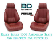 Rally 1000 Series Assembled Seats And Brackets 80-1000-56 For 1964 -1977 Chevelle