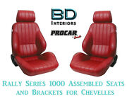 Rally 1000 Series Assembled Seats And Brackets 80-1000-58 For 1964 -1977 Chevelle