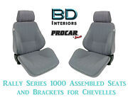 Rally 1000 Series Assembled Seats And Brackets 80-1000-62 For 1964 -1977 Chevelle