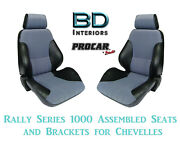 Rally 1000 Series Assembled Seats And Brackets 80-1000-73 For 1964 -1977 Chevelle
