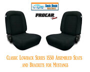 Classic Lowback Seats And Bracket Kit Procar 80-1550-61 For 1965-1998 Mustang's