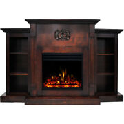 Sanoma Electric Fireplace Heater With 72-in. Mahogany Mantel, Bookshelves, En...
