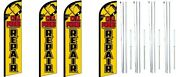 Cell Phone Repair Windless Flag With Complete Hybrid Pole Set- 4 Pack