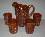 Vintage Octagon Pattern Gold Carnival Glass Pitcher And 4 Glasses Free Shipping