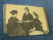 Antique 1/6 Plate Tintype Of 3 Young Ladies W/ Stereoscope And Stereo View Cards