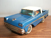 Rare Vintage Battery Powered Ford Convertible Tin Toy Car Of 50's Made In Japan.