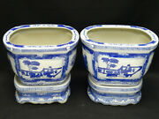Pair Of Antique 19c English Oriental Influence Motif Blue And White Planter +stand