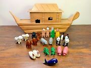 Wood Noahs Ark Boat With People And Animals Handmade Carved Painted 25pc
