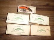 5- Nos Vintage Helin Flatfish U-20 And X5 Lures W/ Original Box And Paper