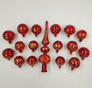 Christmas Tree Ornaments 17pcs. Magic Red Set With Tree Top Topper Vintage