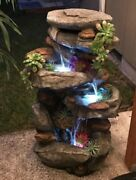 Garden Waterfall Outdoor Rock Water Fountain With Led Lights Chi Zen Meditation