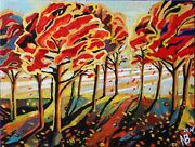 Acrylic Painting N.bessonova Trees In The Wind 20x16 Ready To Hang Sample Sale