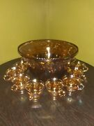Vintage Indiana Carnival Glass Grape Motif Iridescent Gold Punch Bowl W/cup Mint