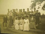 Antique Victorian Photograph Of A Group Of Baseball Players And Women