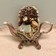❤rare 1996 Royal Albert Old Country Roses Pink Chintz Chair Earthenware Teapot ❤