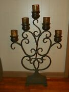 Large Floor Candelabra Candle Holder Metal Iron Free Standing 40 Tall Rustic