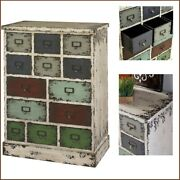 Apothecary 13 Drawer Cabinet Chest White Vintage Rustic Style Distressed Finish