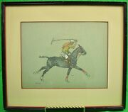 Paul Brown Watercolor And Gouache Illustration Of A Polo Player