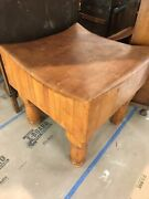 Vintage Unique Solid Maple Butcher Block Table Recently Refinished 1750