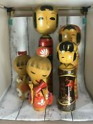 [very Good] Wooden Japanese Vintage Doll Kokeshi Antique Lot 5