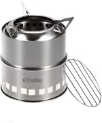 Ohuhu Camping Stove Stainless Steel Backpacking Stove Potable Wood Burning Stove