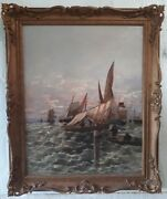 Alexandre Brun 1853-1941 French Original Oil Painting Marine Boats Seascape