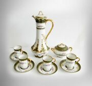 Gda Limoges Tall Chocolate Pot Set With Cups And Sugar - Gold -
