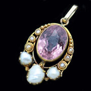 Antique Arts And Crafts Pendant 14k Gold Pink Tourmaline Pearls W Appraisal 5231