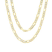 Solid 14k Yellow Gold 8.5mm Mens Diamond Cut Pave Figaro Chain Necklace 20- 30