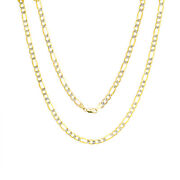 14k Yellow Gold Mens Solid 6mm Diamond Cut White Pave Figaro Chain Necklace 24