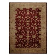8'10 X 12'4 Hand Knotted Peshawar Stone Wash Vegetable Dyes Wool Area Rug Wine