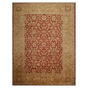 9and0392 X 12and039 Hand Knotted Peshawar Stone Wash Vegetable Dyes Area Rug Rusty Red