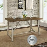 Farmhouse Dining Table Industrial Rustic Wood Distressed White Iron Grange New