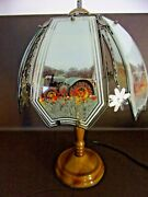 Three-way Touch Lamp With Tractor Scenes On Glass Shade
