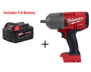 Milwaukee 2767-20 M18 Fuel High Torque Andfrac12andrdquo Impact Wrench And 5.0 Battery