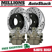 Rear Brake Calipers Performance Ceramic Pads Drilled Slotted Rotors Kit