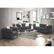 Galaxy Home Emma Tufted Upholstered Velvet Love Seat In Gray