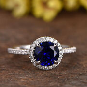 2.70 Carat Round Real Diamond Blue Sapphire Ring 14k Solid White Gold Size 7 8 9