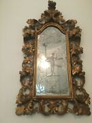 Original 19th Century Italian Rococo Hand Carved Giltwood And Etched Mirror Mb66