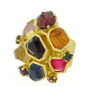 Scarf Ring Color Stone-based Gold Hardware Auth Used T9945