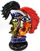 Signed Huge Murano Italian Abstract Celebration To Picasso Head Free Shipping