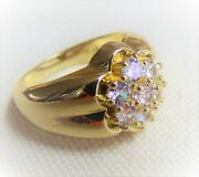 Menandrsquos 2.25 Cwt Kentucky Cluster 7-stone White Sapphire Ring 18k Gold Plated
