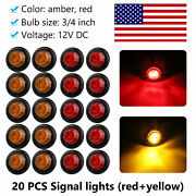 20pcs Red Amber 3led Clearance Marker Lights 3/4and039and039 Inch Round Truck Trailer Bulb