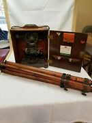 Keuffel And Esser Co P5085c Vintage Transit In Original Wood Case With Rare Stand