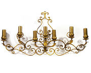 Incredible Wall Sconce Seven Candle Italian Gold Gilded Iron Large Art Nouveau