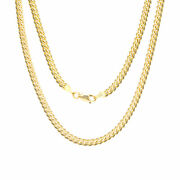 14k Yellow Gold Solid 4mm Miami Cuban Chain Pendant Necklace Lobster Clasp 26